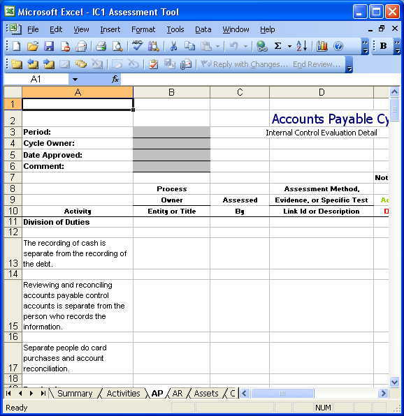 Internal Control Templates  Copedia