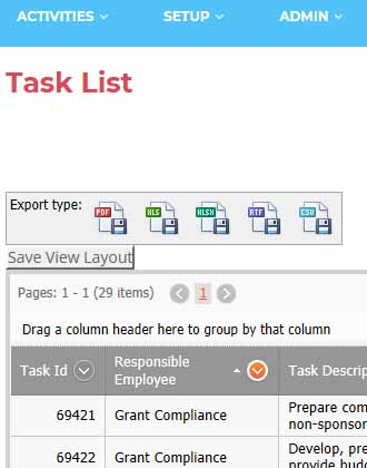 Task List Screen Shot, Responsible employee, task description, etc.